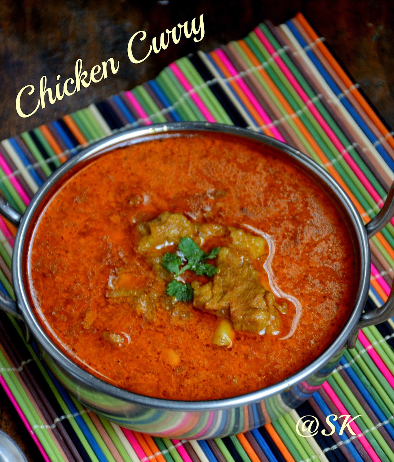 chennai special chicken curry - quick  pressure cooker chicken curry - bachelor's recipe
