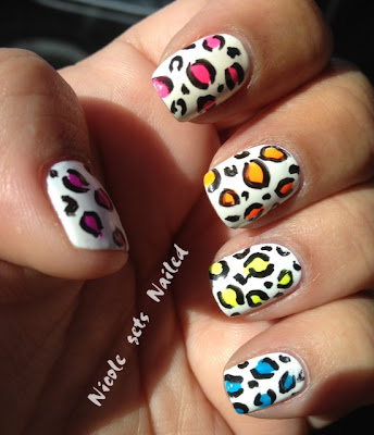 Neon Skittle Leopard on White Nail Art