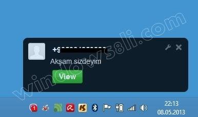 Windows 8 Viber Mesajlaşma