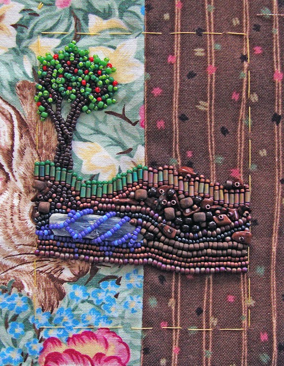 bead embroidery by Robin Atkins, Message to Elders, April 2014, detail