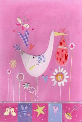 cigüeña en rosa decoraciones para niños y niñas