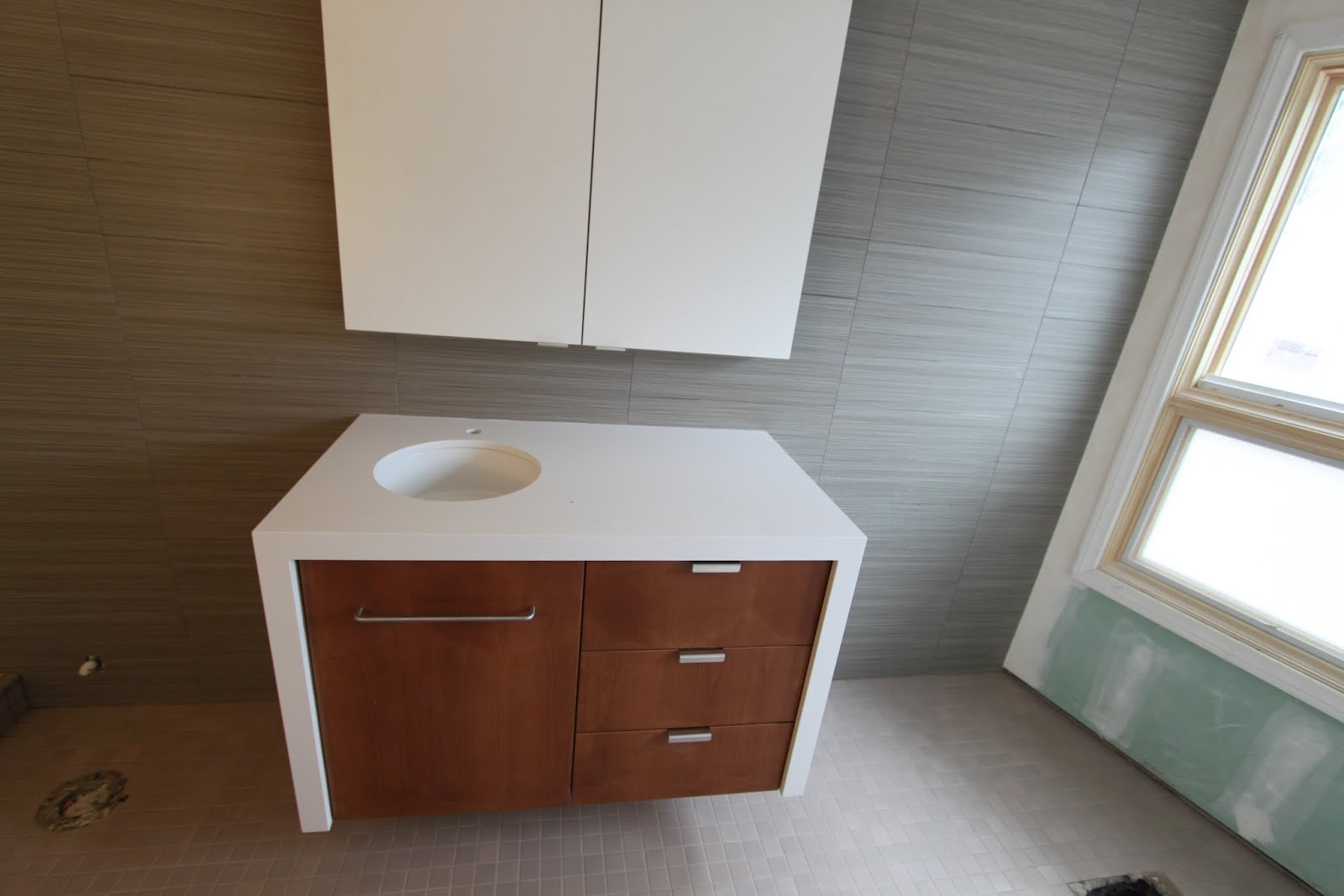 Nearing End Of Construction Mid Century Modern Bathroom
