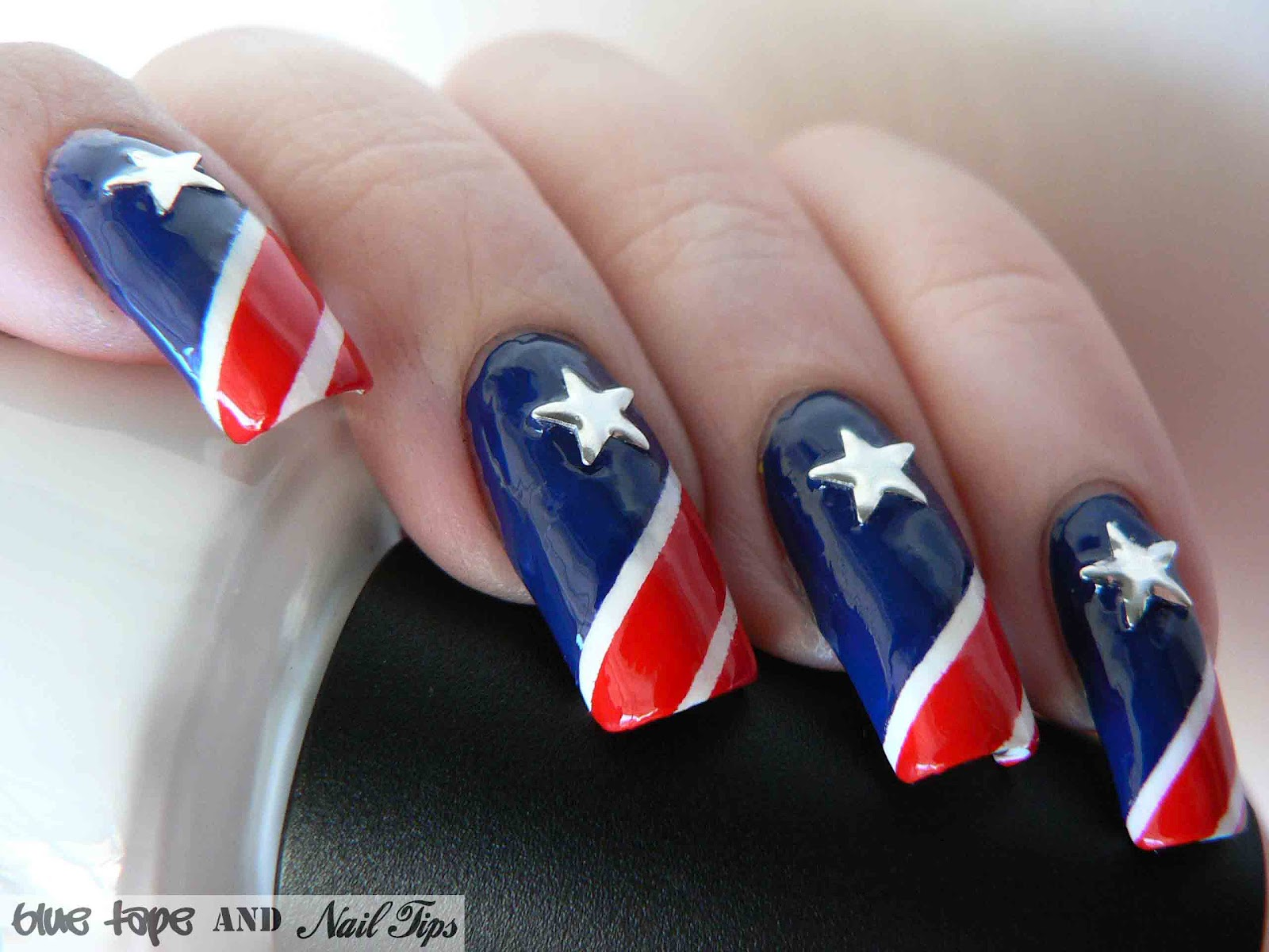 Blue Tape and Nail Tips: Stars and Stripes
