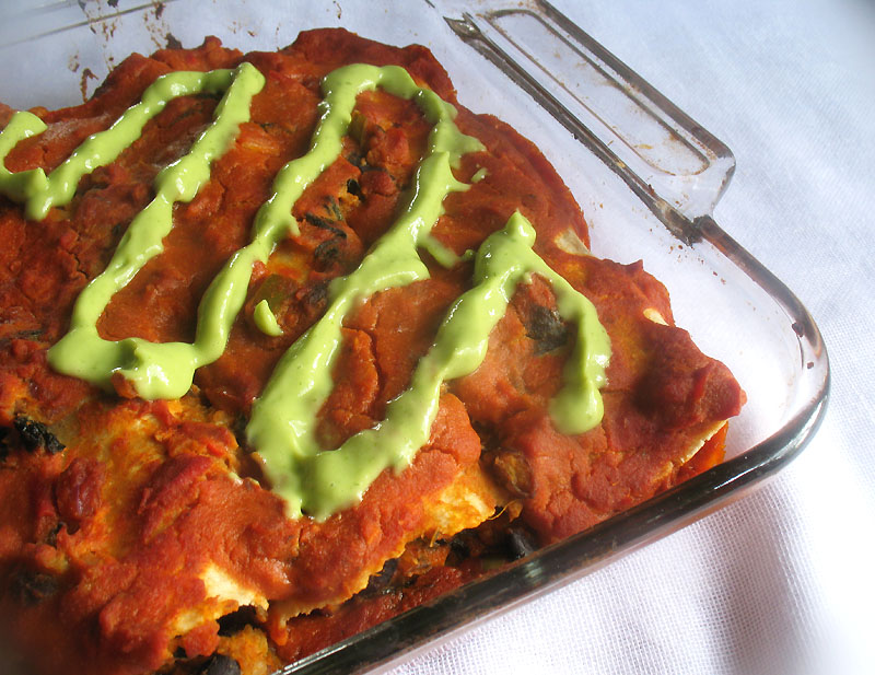 Black Bean and Sweet Potato Enchiladas with Avocado Cream Sauce | Lisa ...