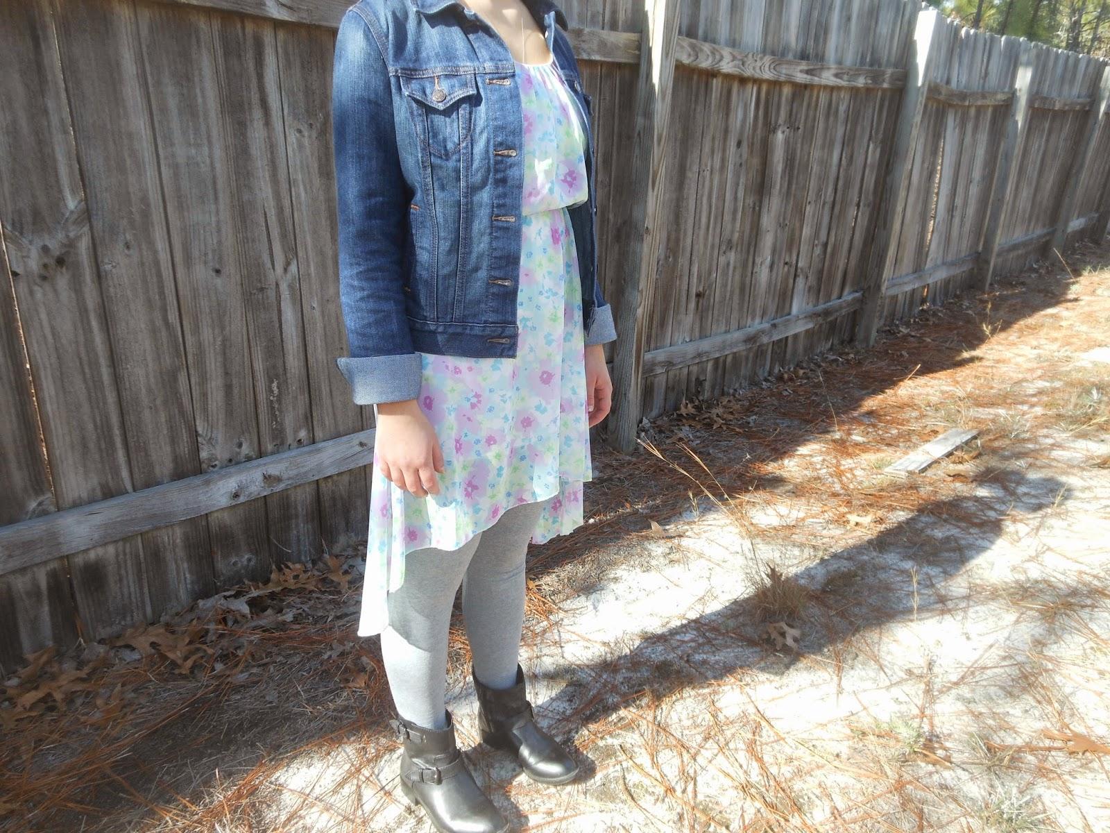 How to Wear a Dress in Winter    02. Hi low dress, grey leggings, black ankle boots, jean jacket.