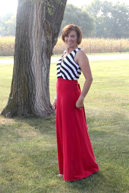 Butterick 6051 Maxi dress with red ponte skirt and stripe bodice