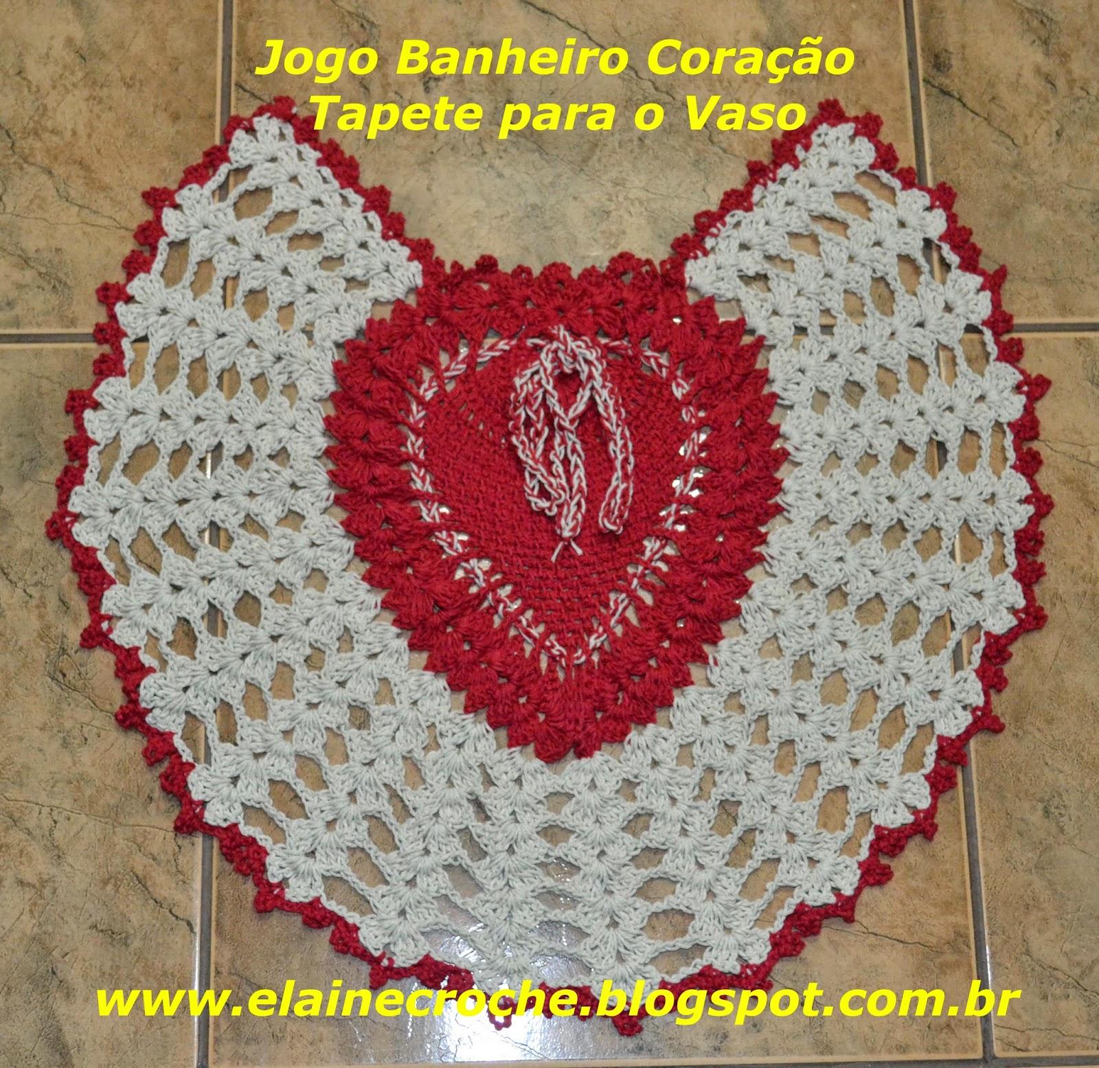 Elaine Croche: Jogo Banheiro Coração em Crochê Tapete Vídeo  #BAB711 1600 1555