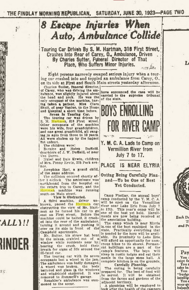 """Climbing My Family Tree: """"8 Escape Injuries When Auto, Ambulance Collide"""" June 30, 1923"""