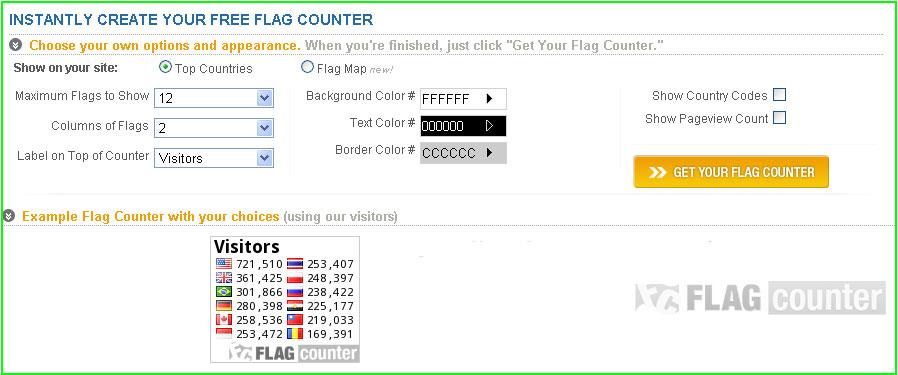 Bộ đếm lượt truy cập Blogspot có biểu tượng lá cờ từ flagcounter 2