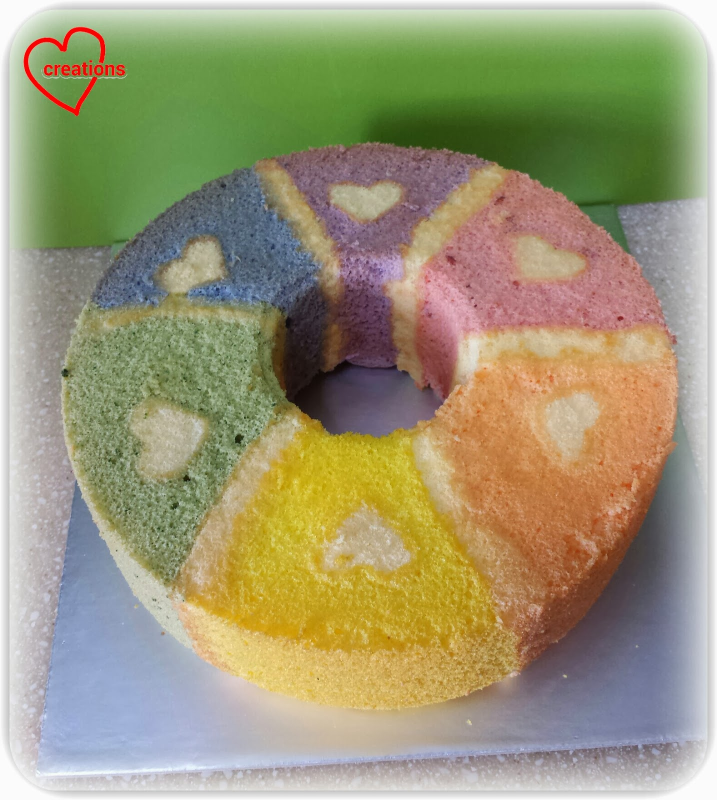 ... rainbow chiffon cake with 6 flavours embedded into the cake and also a