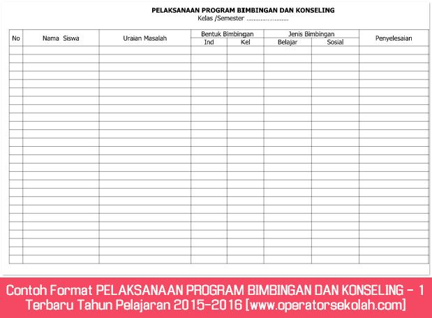 Contoh Format PELAKSANAAN PROGRAM BIMBINGAN DAN KONSELING - 1 Terbaru Tahun Pelajaran 2015-2016 [www.operatorsekolah.com]