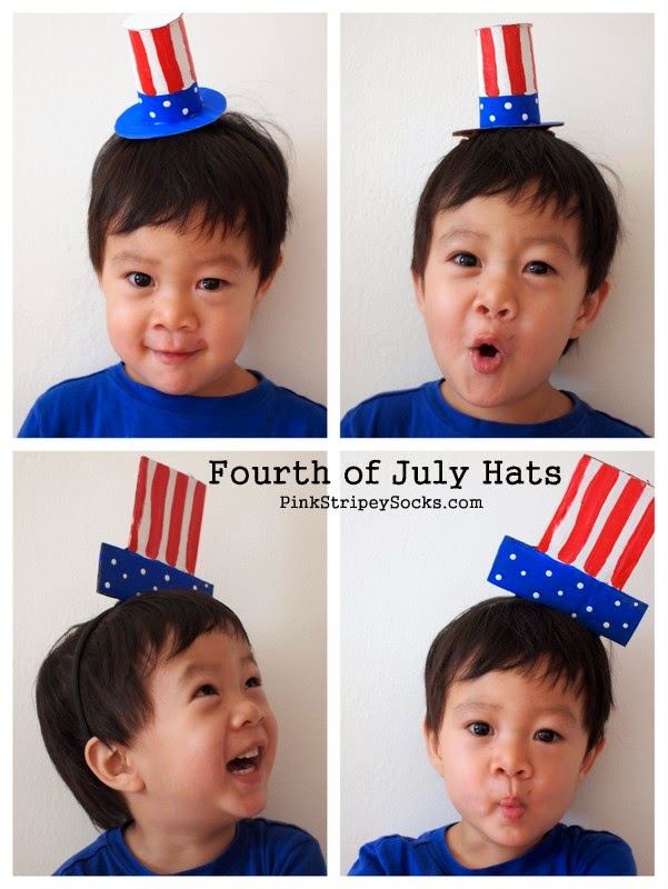 Make 2 cardboard Fourth of July Hats with the kids!