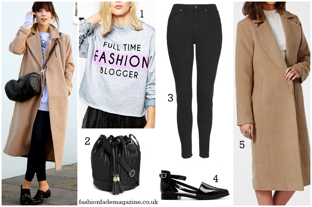 camel coat - black jeans - grey logo sweatshirt - street style - fashion blogger outfits - trends fall 2014