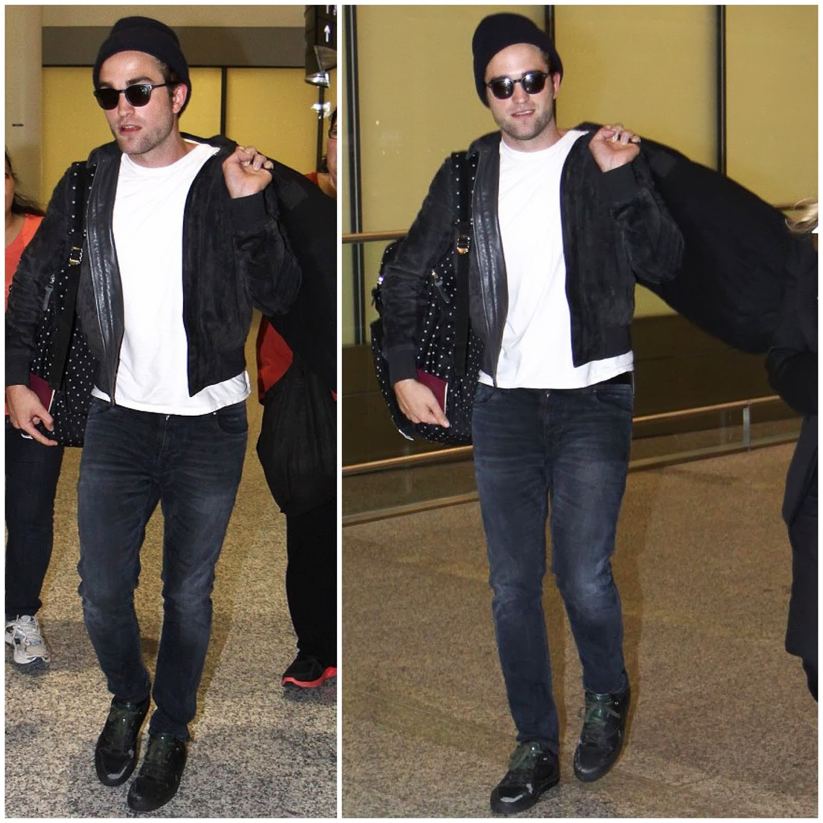 0O00 Menswear Blog: Robert Pattinson's Stussy Deluxe Polka Dot Backpack, Toronto Airport July 2013