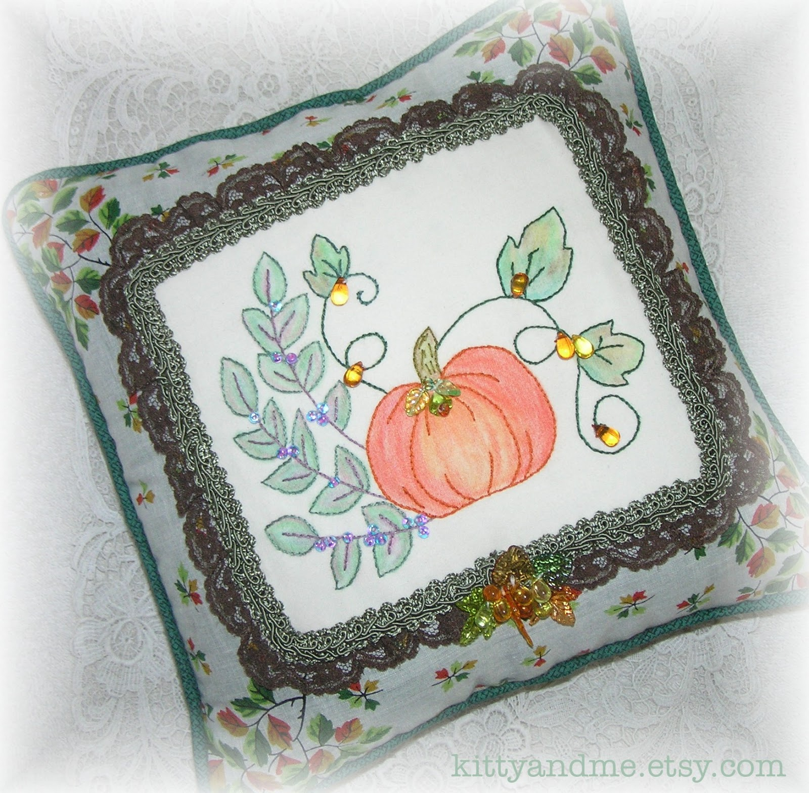 Kitty And Me Designs: Decorative Embroidered Pillows for Fall and Halloween
