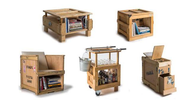 Marzua muebles hechos con cajas de embalaje for Muebles reciclados para un estilo industrial