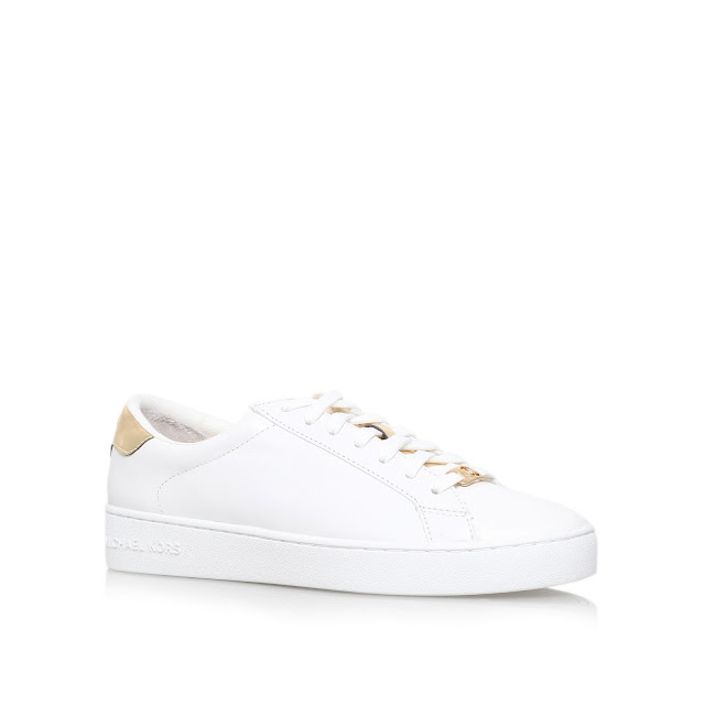 michael kors trainers, white and gold trainers, michael kors irving,