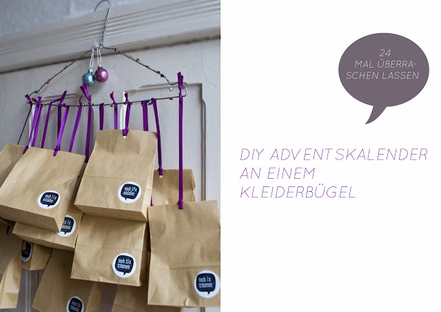 DIY Adventskalender am Drahtbügel