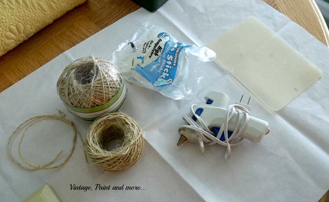 Vintage, Paint and more... supplies to make a twine wrapped lamp