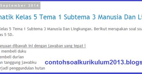 Kumpulansoalkurikulum2013 Sd Soal Tematik Kelas 5 Tema 1 Subtema 3 Manusia Dan Lingkungan