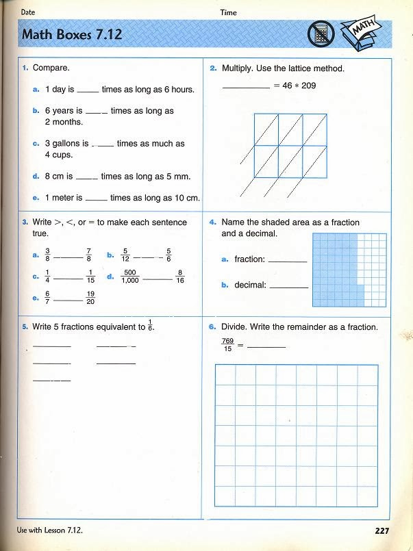 Out In Left Field: Math problems of the week: 4th grade 1920s Math ...