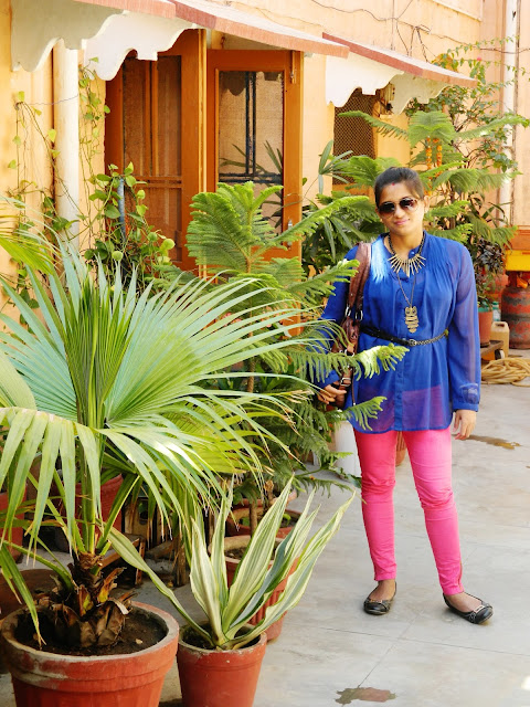 outfit post with color denim, sheer shirt, Cobalt blue tunic,Indian fashion blogger, New England fashion blogger, style file, flat shoes, kolkata outfit