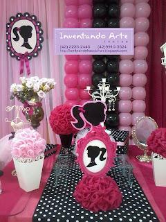festa decoração Barbie Paris preto rosa