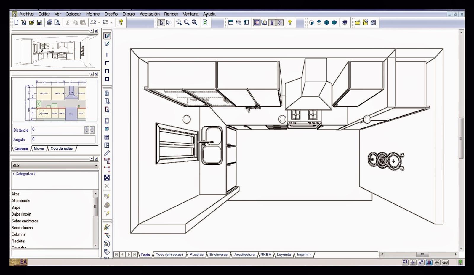 Ea european architecture dise o cocinas for Cocina plano arquitectonico