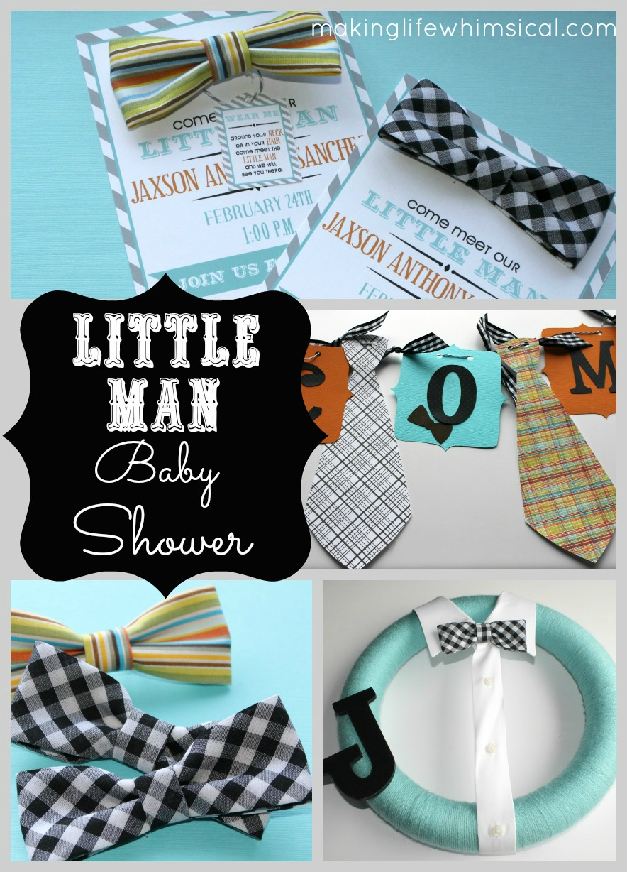 little man bow tie inspired baby shower invitations party