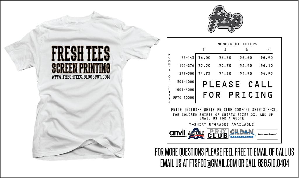 Fresh tees screen printing t shirts for a clothing brand for Cost to screen print t shirts