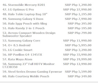 page 4 Price list for laptops, cellphone, tablets, and all other electronic devices