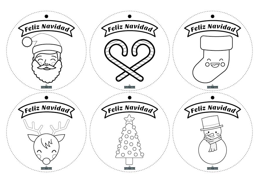 Free printable coloring Christmas garland - Guirnalda de Navidad para colorear imprimible gratuito