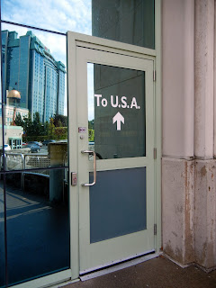 The door to the USA on the Rainbow Bridge on the Canadian side