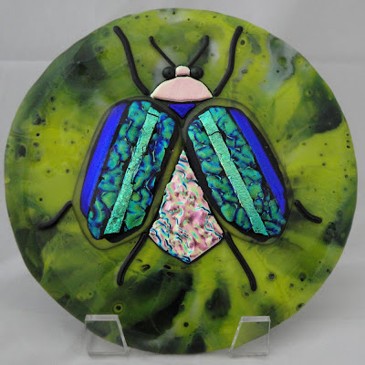scarab beetle fused glass finished dichroic pot melt tile dish flutterbyfoto flutterbybutterfly