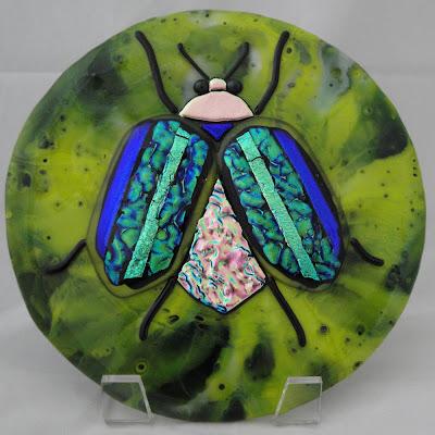 scarab beetle fused glass finished dichroic pot melt tile dish flutterbyfoto flutterbybutterfly