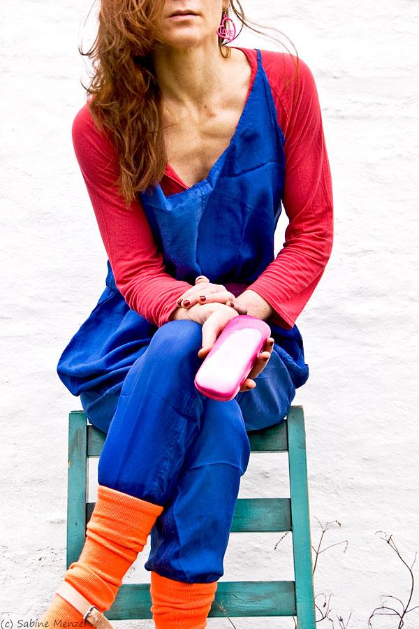 Psynopsis Blue Vintage Katherine Hamnett Silk Overall Red Topshop T-Shirt