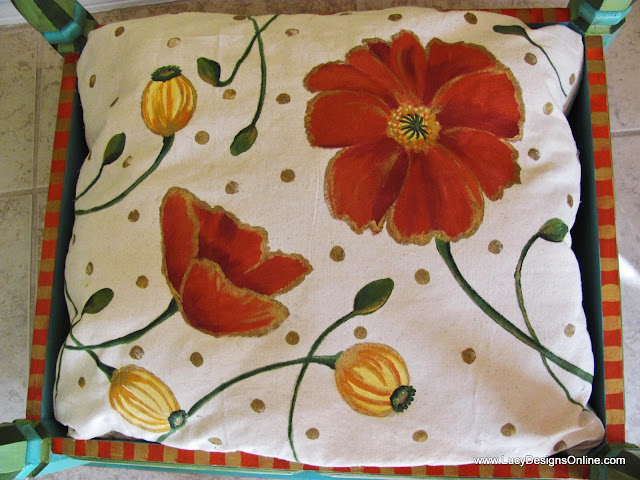 hand painted fabric orange and yellow poppy flowers