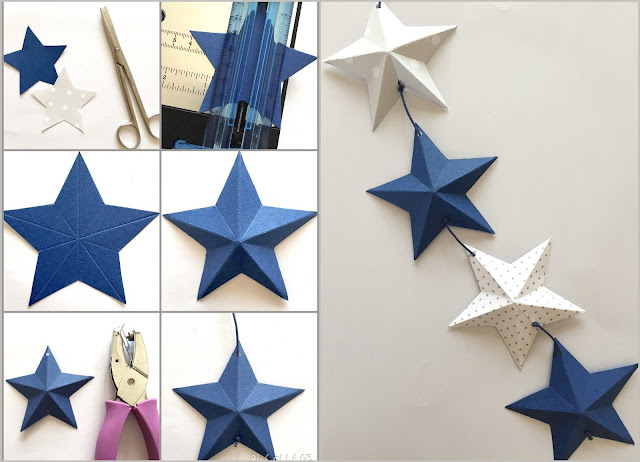 3D paper stars garland tutorial
