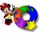 Alfabeto de Minnie Mouse pintando Q.