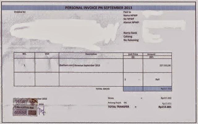 contoh invoice terlengkap