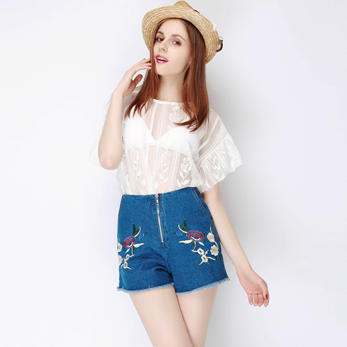 Poppy Embroidered Cut Off Shorts