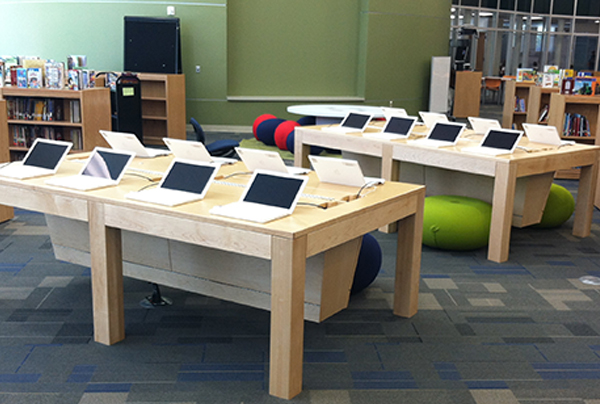 Specially Designed Library Tables Will Be Installed On Most District  Campuses Soon So That Students Can Easily Access Digital Learning Devices  Like Netbooks ...