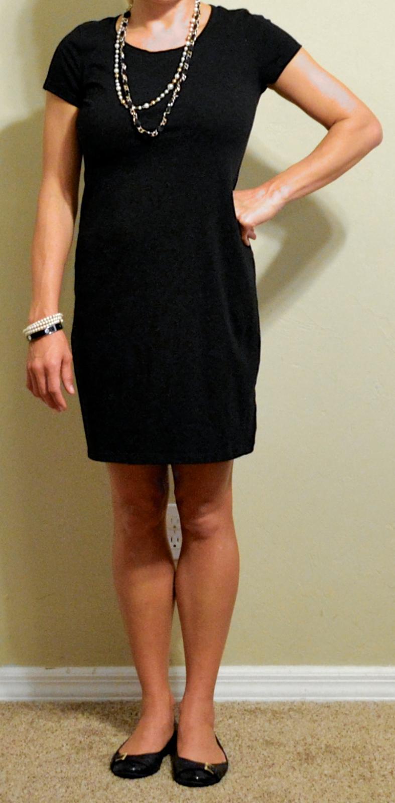 Outfit Posts Guest Post - V Black T-shirt Dress Black Buckle Flats