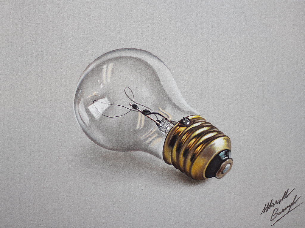 Watch on YouTube how I draw this realistic bulb (HD video)
