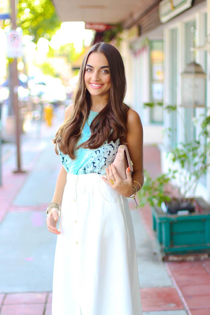 bardot top, white midi skirt, carlo pazolini pumps, pink nudes, summer date night outfit