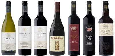 Lineup of the 7 Grant Burge wines tasted