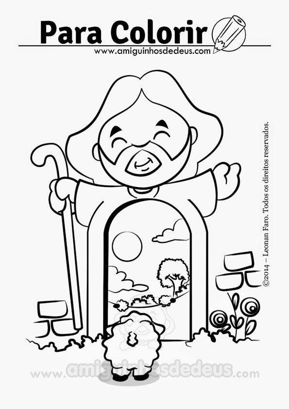 jesus é a porta, jesus bom pastor desenho para colorir