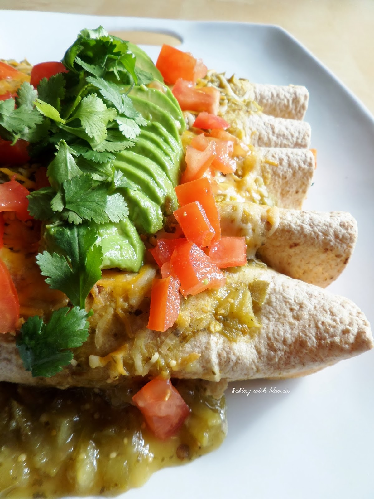 Black Bean & Sweet Potato Whole Grain Enchiladas With Avocado