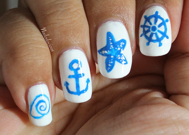 nautical nails, starfish nails, anchor nails
