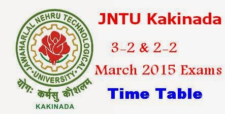 JNTUK 3-2 and 2-2 March 2015 Exams Time Table